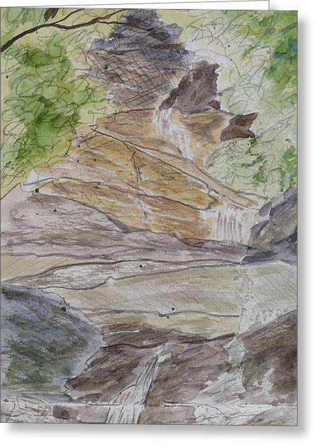 The Escape Capsule Greeting Cards - Set Rock Creek Falls - a sketch Greeting Card by Joel Deutsch
