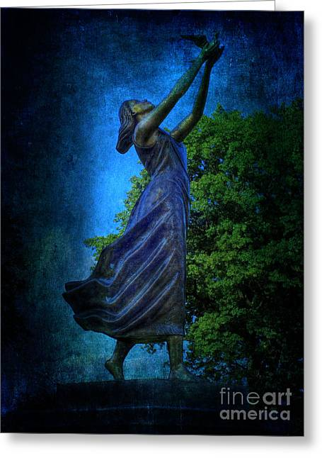 Setting Free My Little Angel In Blue Greeting Card by Lee Dos Santos