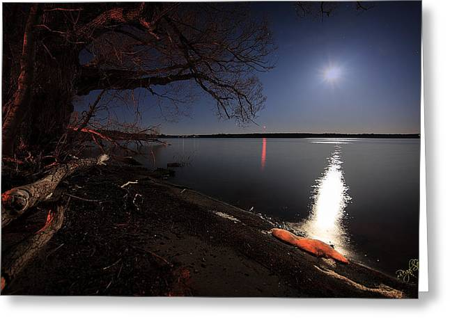 Setting Moon Greeting Card by Everet Regal