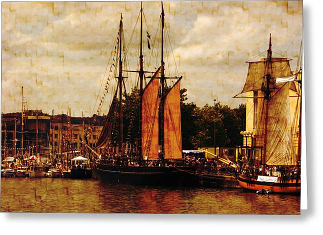Schooner Greeting Cards - Setting Sail From Bristol Greeting Card by Brian Roscorla