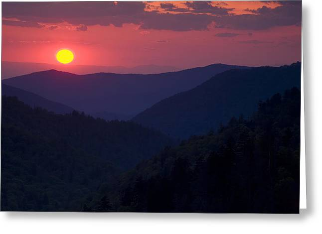 Morton Greeting Cards - Setting Sun in the Mountains Greeting Card by Andrew Soundarajan