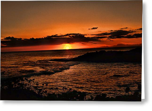 Ko Olina Lagoon Greeting Cards - Setting Sun Greeting Card by Sheri Bartoszek