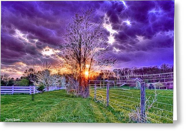 Shining Down Greeting Cards - Setting Sun Greeting Card by Stephen Younts