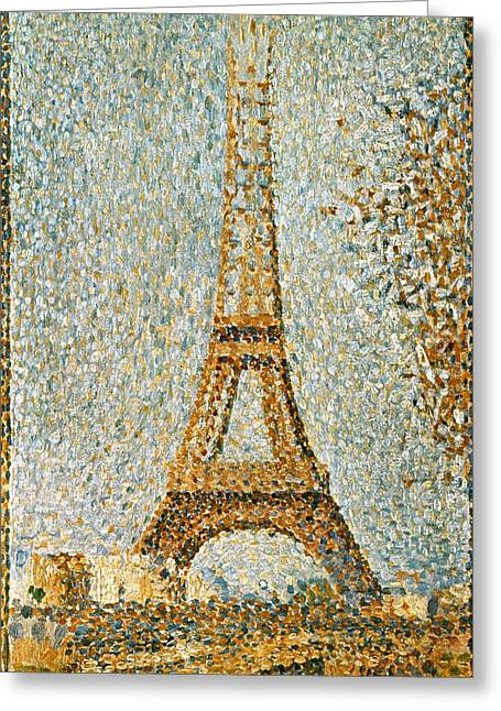 Seurat Greeting Cards - Seurat: Eiffel Tower, 1889 Greeting Card by Granger