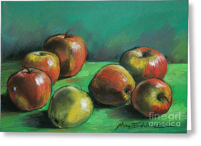 Apple Pastels Greeting Cards - Seven Apples Greeting Card by Mona Edulesco