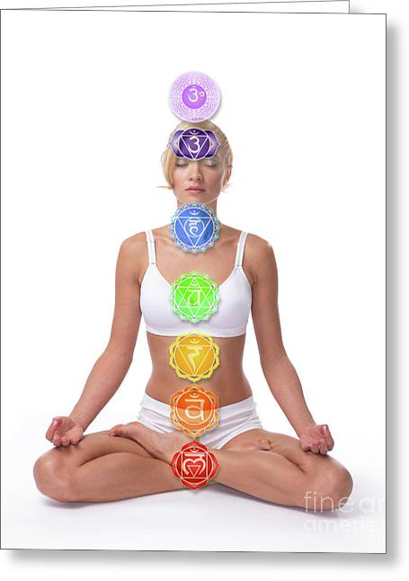 Sacred Body Greeting Cards - Seven Chakras Greeting Card by Oleksiy Maksymenko
