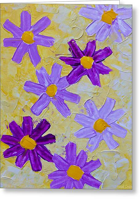 Smear Greeting Cards - Seven Flowers Greeting Card by Heidi Smith