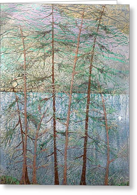 Mystical Landscape Glass Art Greeting Cards - Seven  Greeting Card by Rick Silas