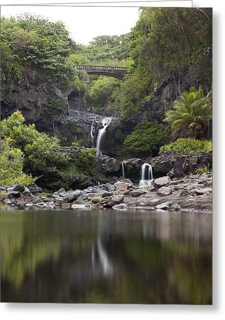 Sightsee Greeting Cards - Seven Sacred Pools waterfalls III Greeting Card by Jenna Szerlag