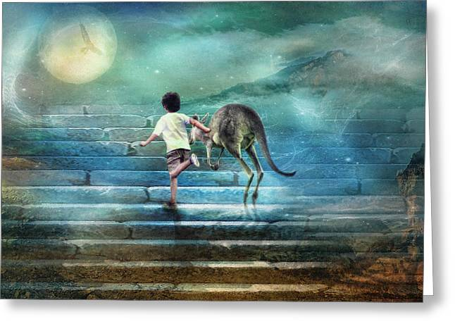 Kangaroo Digital Art Greeting Cards - Seven Steps To The Moon Greeting Card by Trudi Simmonds