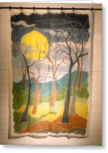 Earth Tapestries - Textiles Greeting Cards - Seven Trees Greeting Card by Rollin Kocsis