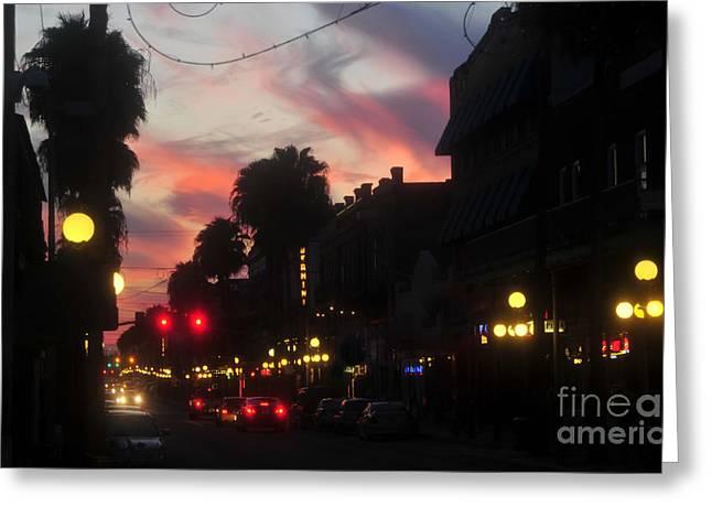 Ybor City Greeting Cards - Seventh Avenue Night Greeting Card by David Lee Thompson