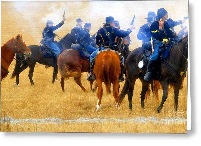 1870s Greeting Cards - Seventh Cavalry in action Greeting Card by David Lee Thompson