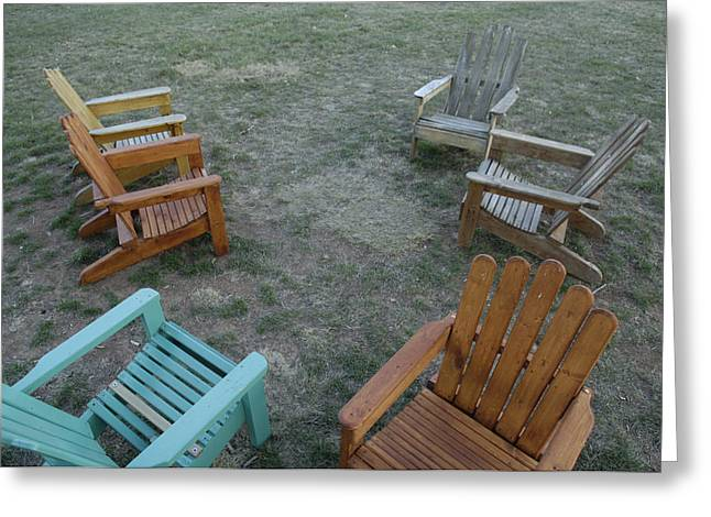Several Lawn Chairs Scattered Greeting Card by Joel Sartore