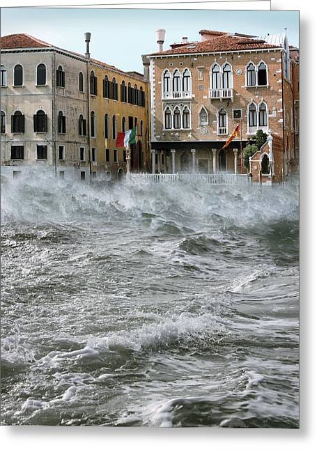 Choppy Water Greeting Cards - Severe Storm, Venice, Italy Greeting Card by Tony Craddock