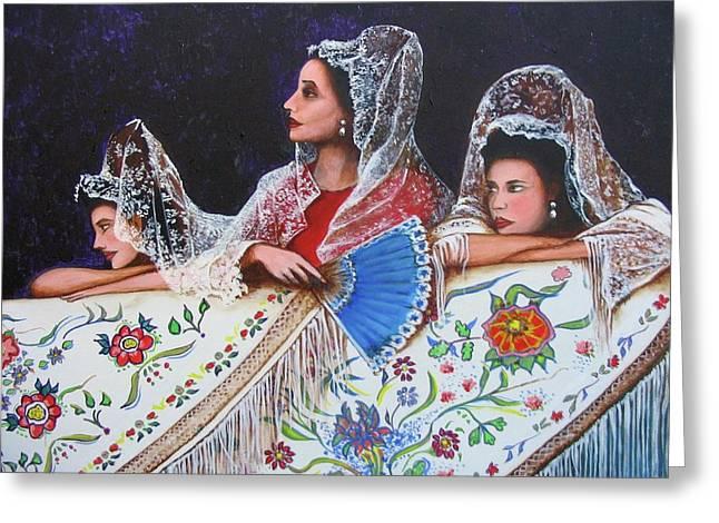 Sevilla's ladies Greeting Card by Jorge Parellada