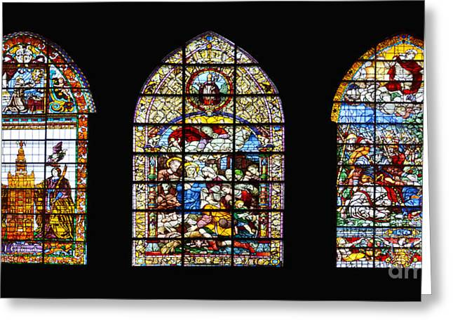 Incarnation Digital Art Greeting Cards - Seville Cathedral Stained Glass Windows Greeting Card by Moshe Moshkovitz