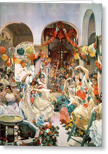Celebration Paintings Greeting Cards - Seville Greeting Card by Joaquin Sorolla y Bastida