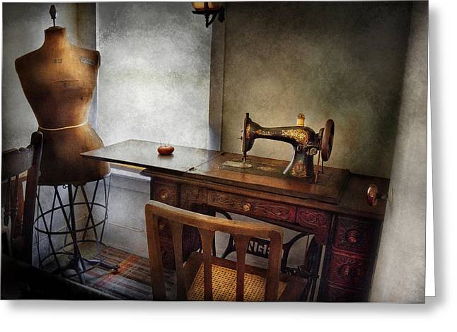 Sewing Rooms Greeting Cards - Sewing - A tailors life  Greeting Card by Mike Savad
