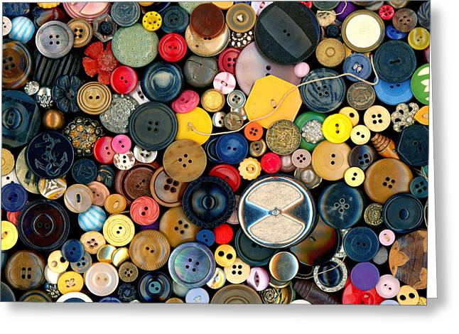 Sewing Rooms Greeting Cards - Sewing - Buttons - Bunch of Buttons Greeting Card by Mike Savad