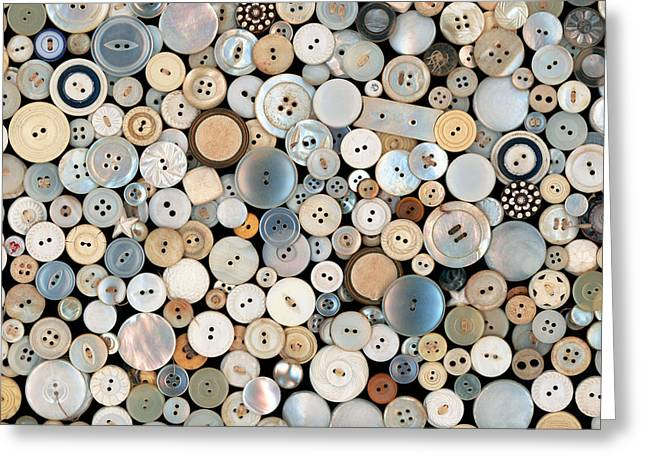 Sewing Rooms Greeting Cards - Sewing - Buttons - Lots of white buttons Greeting Card by Mike Savad