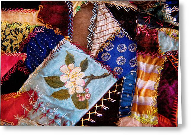 Old-fashioned Quilts Greeting Cards - Sewing - Patchwork - Grandmas quilt  Greeting Card by Mike Savad