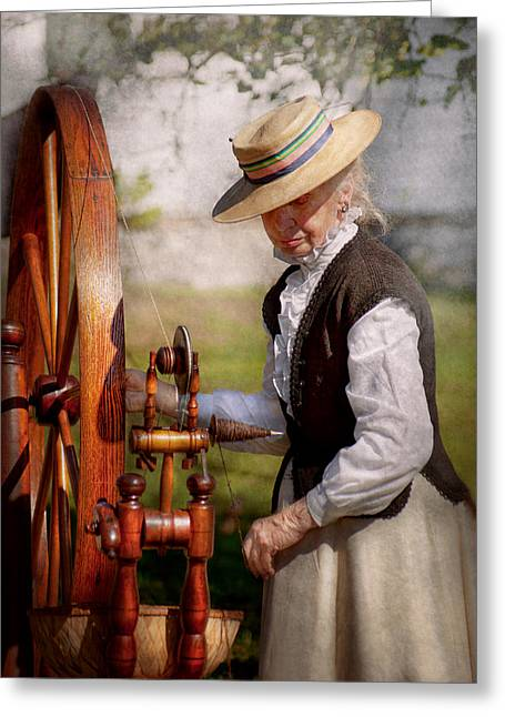 Sewing Rooms Greeting Cards - Sewing - Weaving - Big wheel keep on turning  Greeting Card by Mike Savad