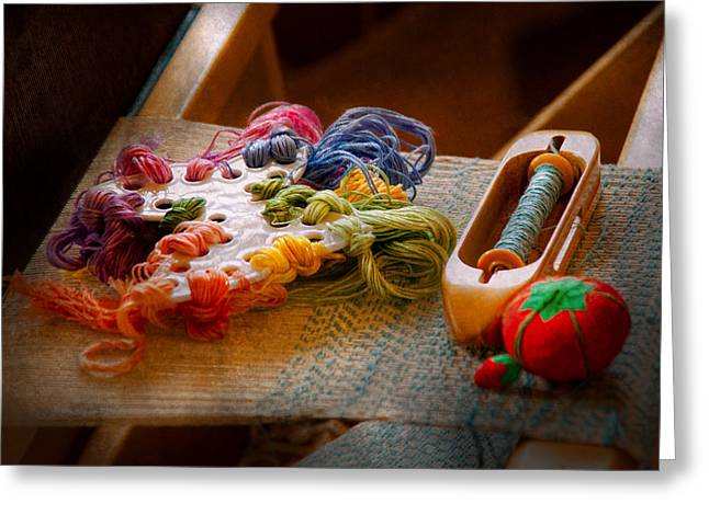 Scissors Greeting Cards - Sewing - Yarn - Threads of time Greeting Card by Mike Savad