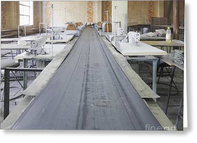 Conveyor Belt Greeting Cards - Sewing Line in an Old Factory Greeting Card by Magomed Magomedagaev