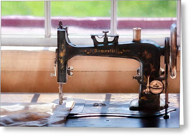 Sewing Rooms Greeting Cards - Sewing Machine - A stitch in time Greeting Card by Mike Savad