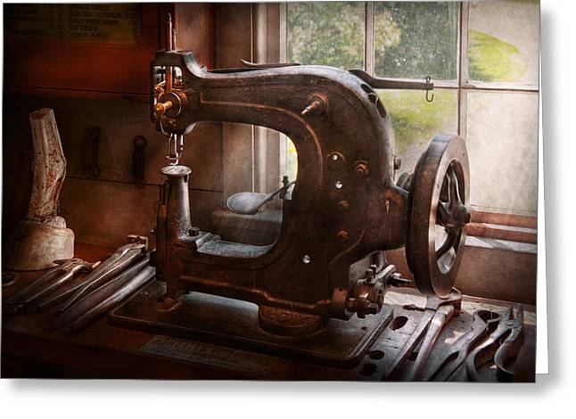 Sewing Rooms Greeting Cards - Sewing Machine - Leather - Saddle Sewer Greeting Card by Mike Savad