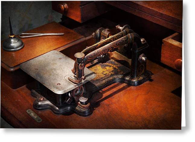 Sewing Room Greeting Cards - Sewing Machine - Sewing for small hands  Greeting Card by Mike Savad