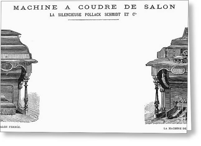 French Open Greeting Cards - Sewing Machine, 1871 Greeting Card by Granger