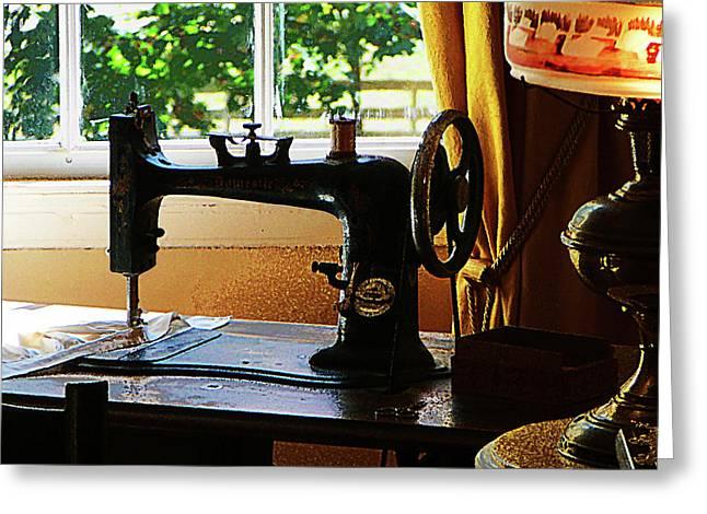 Sewing Machine Greeting Cards - Sewing Machine and Lamp Greeting Card by Susan Savad