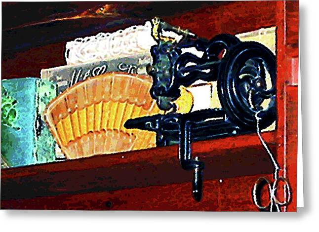 Sewing Greeting Cards - Sewing Machine for Sale Greeting Card by Susan Savad
