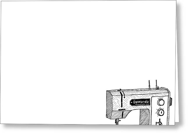 Apparel Drawings Greeting Cards - Sewing Machine Greeting Card by Karl Addison