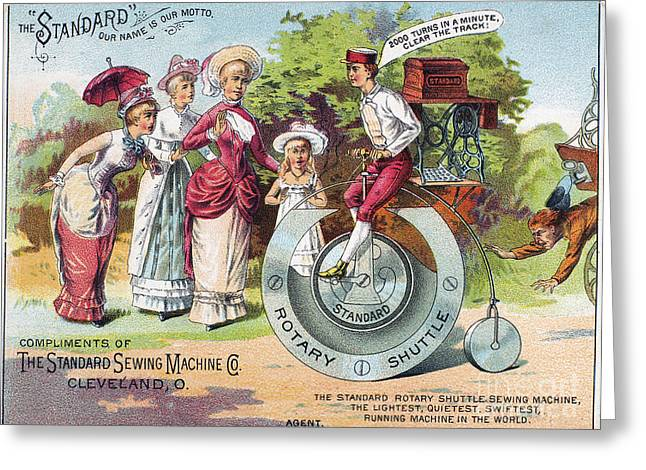 Trade Card Greeting Cards - Sewing Machine Trade Card Greeting Card by Granger