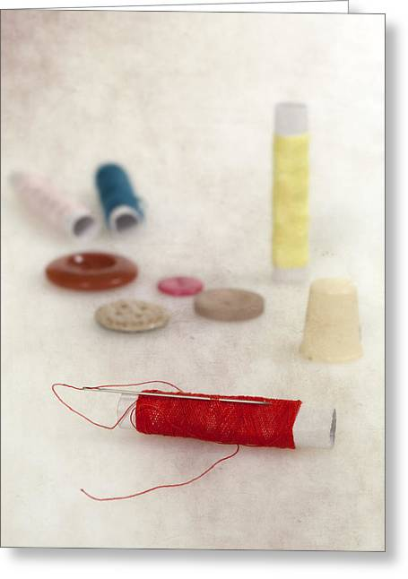 Needles Greeting Cards - Sewing Supplies Greeting Card by Joana Kruse