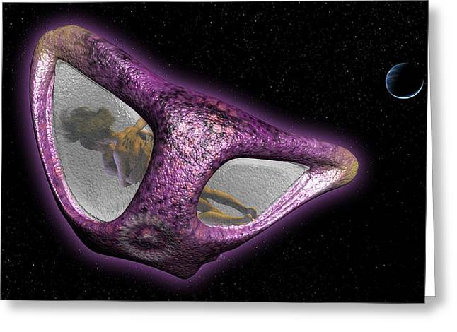 Weightless Greeting Cards - Sex In Space, Artwork Greeting Card by Christian Darkin