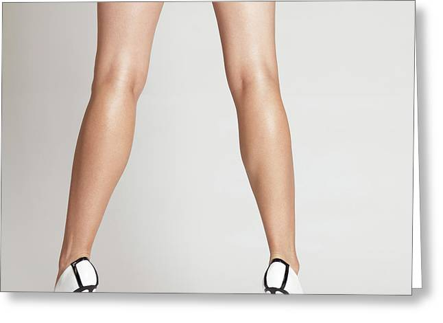 Low Heeled Shoes Greeting Cards - Sexy Long Legs Greeting Card by Oleksiy Maksymenko