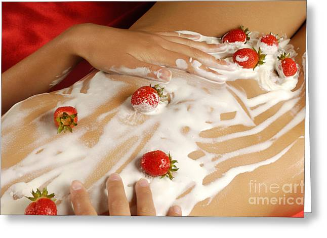 Body-parts Greeting Cards - Sexy Nude Woman Body Covered with Cream and Strawberries Greeting Card by Oleksiy Maksymenko