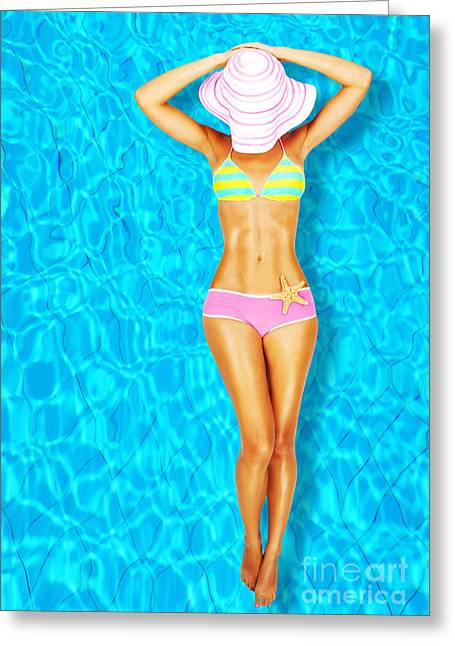 Sunbathing Greeting Cards - Sexy woman body in the pool  Greeting Card by Anna Omelchenko
