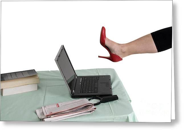 Women Only Greeting Cards - Sexy woman kicks a laptop  Greeting Card by Ilan Rosen