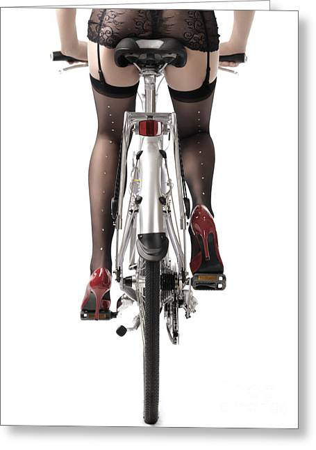 Legs Greeting Cards - Sexy Woman Riding a Bike Greeting Card by Oleksiy Maksymenko