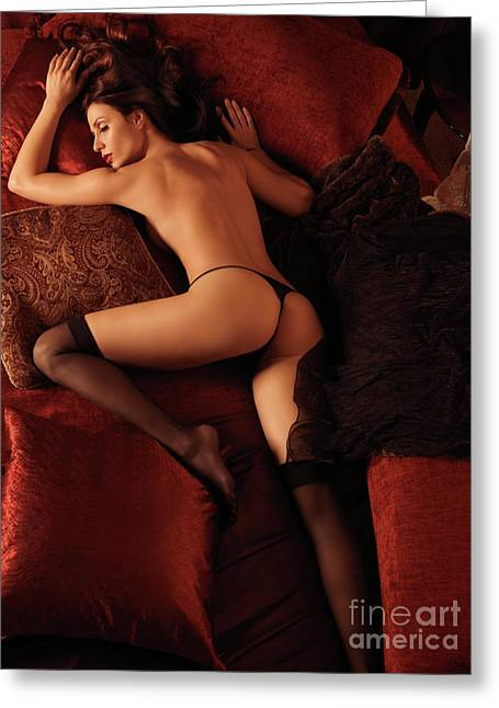 Full Body Greeting Cards - Sexy Young Woman Sleeping in Bed Greeting Card by Oleksiy Maksymenko