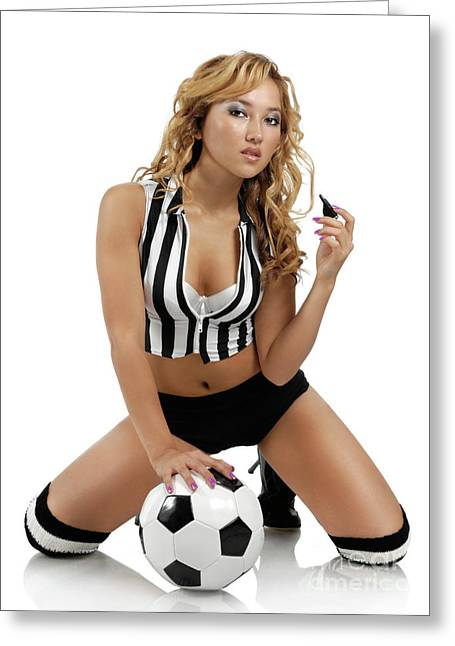 Outfit Greeting Cards - Sexy Young Woman with a Soccer Ball Greeting Card by Oleksiy Maksymenko