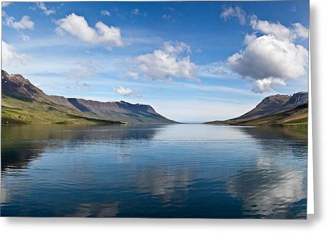 Geomorphology Greeting Cards - Seydisfjordur Fjord Greeting Card by Greg Dimijian
