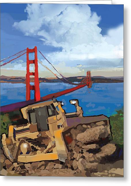 Underground Utilities Greeting Cards - SF and D9 Greeting Card by Brad Burns