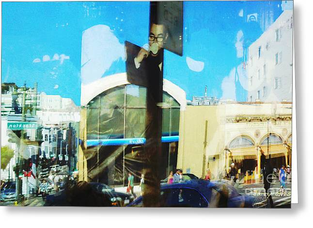 Stockton Greeting Cards - SF North Beach Expresso Reflections Greeting Card by Jerry Grissom