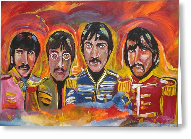 Paul Mc Cartney Greeting Cards - Sgt Pepper Greeting Card by Colin O neill